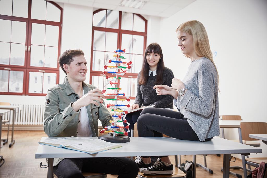 Schüler und Schülerinnen der Carlo Schmid Schule Pforzheim lernen Chemie